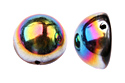 Dome Beads 12x7mm, Jet/Vitrail, 1 шт. (#23980/28101)