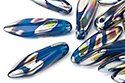 Glass Daggers 5x16mm, Dark Blue Vitrail Stripes, 1 шт. (#62010/2810V)